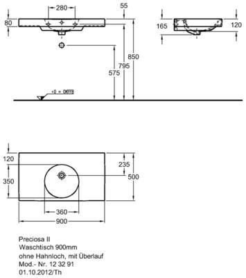 Умывальник Keramag Preciosa II 900 x 500 мм без отверстия для смесителя без перелива цена