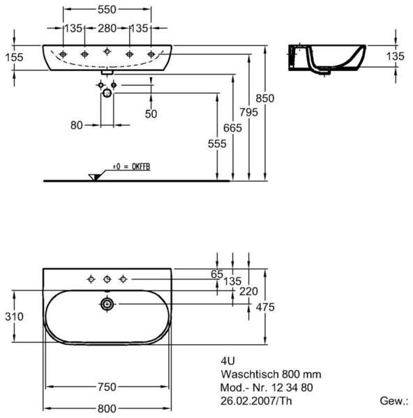 Умывальник Keramag 4U 800 x 475 мм с отверстием под смеситель с переливом