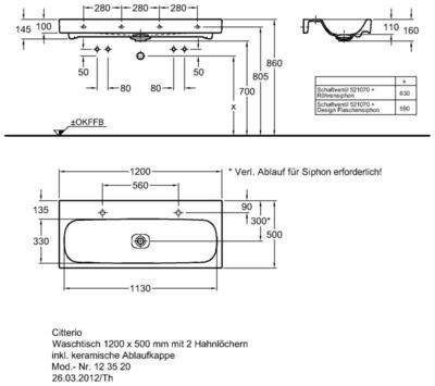 Умывальник Keramag Сitterio 1200 x 500 мм с двумя отверстиями под смеситель без отверстия перелива цена