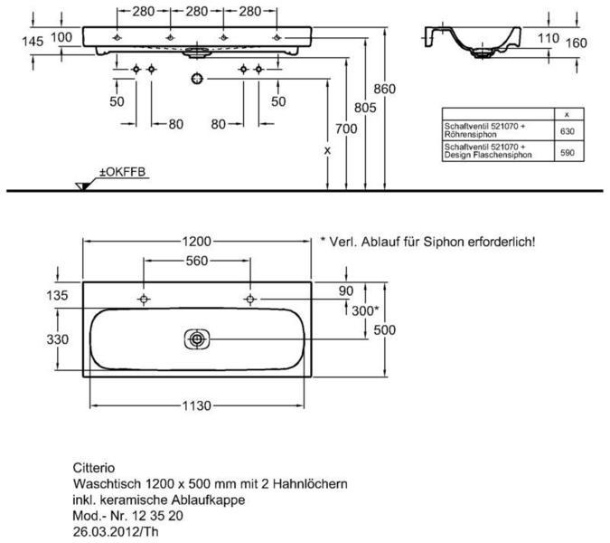 Умывальник Keramag Сitterio 1200 x 500 мм с двумя отверстиями под смеситель без отверстия перелива