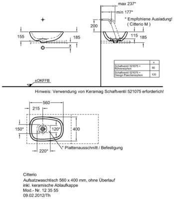 Умывальник Keramag Сitterio 560 x 400 мм без отверстия под смеситель без отверстия перелива цена