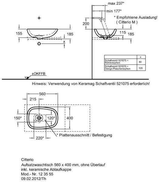 Умывальник Keramag Сitterio 560 x 400 мм без отверстия под смеситель без отверстия перелива