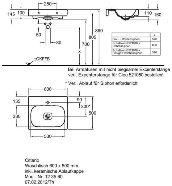 Умывальник Keramag Сitterio 600 x 500 мм с отверстием под смеситель без отверстия перелива