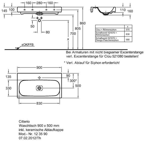 Умывальник Keramag Сitterio 900 x 500 мм с отверстием под смеситель без отверстия перелива