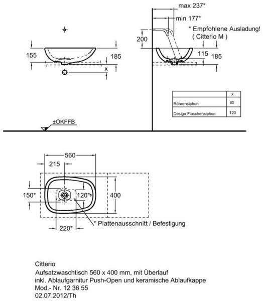 Умывальник Keramag Сitterio 560 x 400 мм без отверстия под смеситель с отверстием перелива