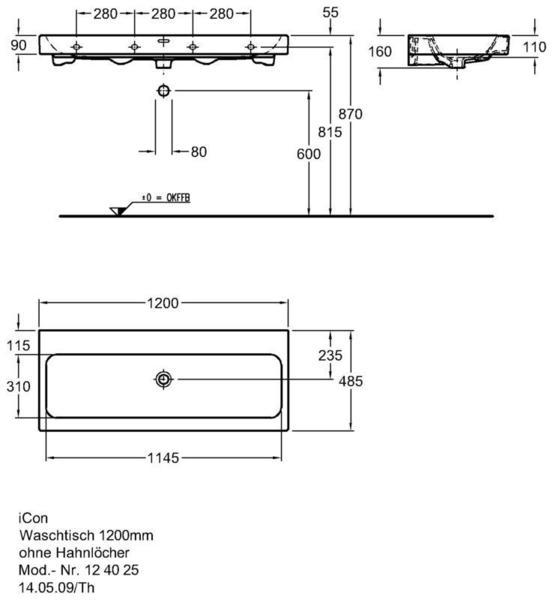 Умывальник Keramag iCon 1200 x 485 мм без отверстий под смеситель с переливом