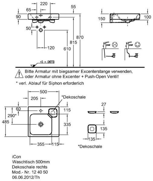 Умывальник Keramag iCon с полочкой справа 500 x 485 мм с отверстием под смеситель с переливом
