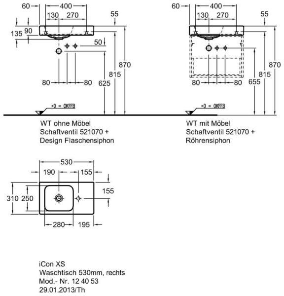 Умывальник Keramag iCon xs с полочкой справа 530 x 310 мм с отверстием под смеситель без перелива