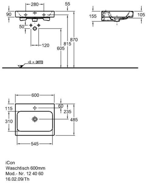 Умывальник Keramag iCon 600 x 485 мм с отверстием под смеситель с переливом