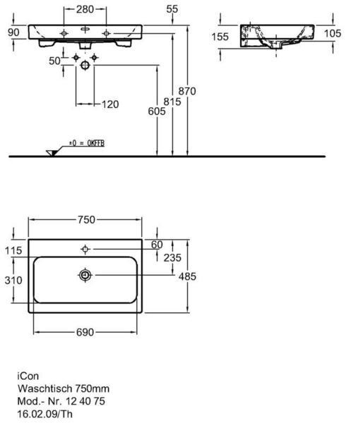 Умывальник Keramag iCon 750 x 485 мм с отверстием под смеситель с переливом