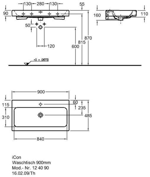 Умывальник Keramag iCon 900 x 485 мм с отверстием под смеситель с переливом