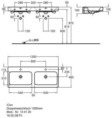 Умывальник Keramag iCon двойной 1200 x 485 мм 2 отверстия под смеситель слева и справа с переливом цена