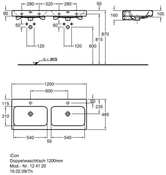 Умывальник Keramag iCon двойной 1200 x 485 мм 2 отверстия под смеситель слева и справа с переливом