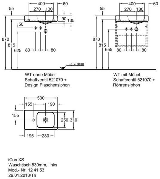Умывальник Keramag iCon xs с полочкой слева 530 x 310 мм с отверстием под смеситель без перелива