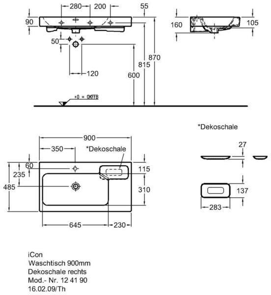Умывальник Keramag iCon с полочкой справа 900 x 485 мм с отверстием под смеситель с переливом