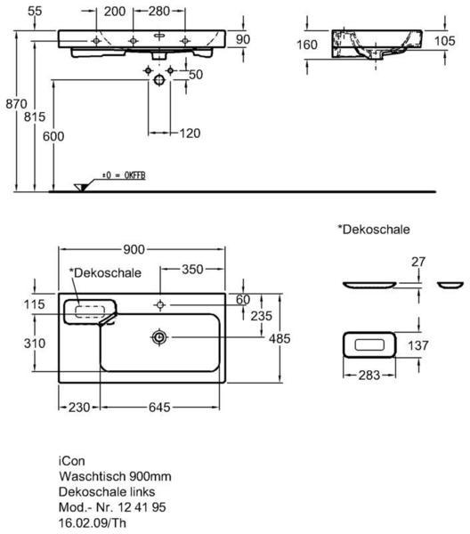 Умывальник Keramag iCon с полочкой слева 900 x 485 мм с отверстием под смеситель с переливом