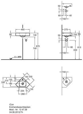 Умывальник Keramag iCon xs угловой 330 мм с отверстием под смеситель без перелива цена