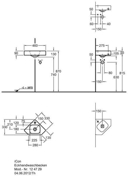 Умывальник Keramag iCon xs угловой 330 мм с отверстием под смеситель без перелива