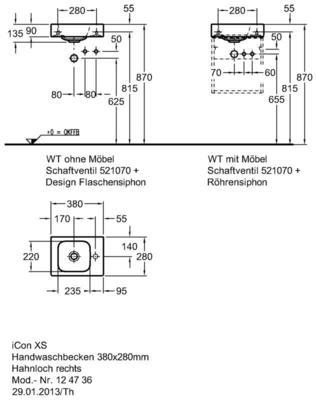 Умывальник Keramag iCon xs 380 x 280 мм с отверстием под смеситель справа с переливом цены