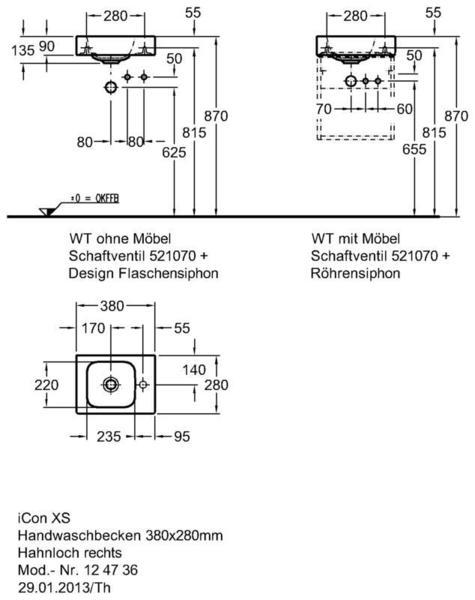 Умывальник Keramag iCon xs 380 x 280 мм с отверстием под смеситель справа с переливом