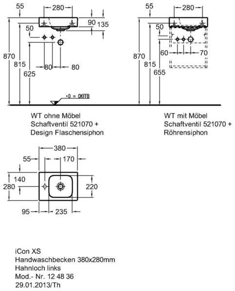 Умывальник Keramag iCon xs 380 x 280 мм с отверстием под смеситель слева с переливом