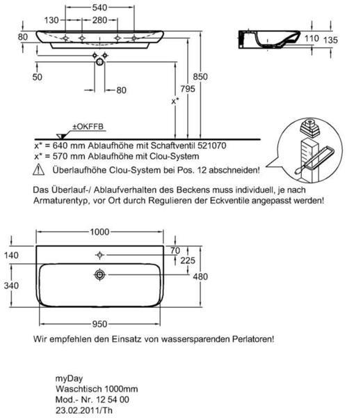 Умывальник Keramag myDay 1000 x 480 мм с отверстием для смесителя без перелива
