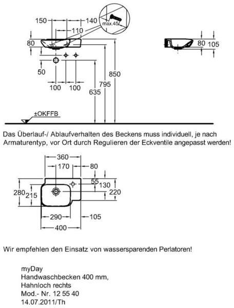 Умывальник Keramag myDay 400 x 280 мм отверстие под смеситель справа без перелива
