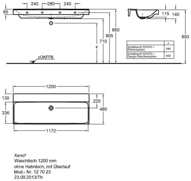 Умывальник Keramag Xeno2 1200 x 480 мм без отверстиея под смеситель без перелива