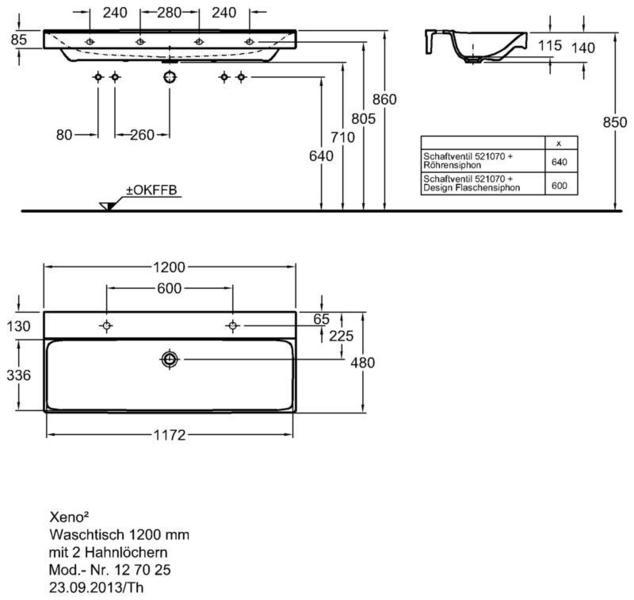 Умывальник Keramag Xeno2 1200 x 480 мм с двумя отверстиями под смеситель справа и слева без перелива