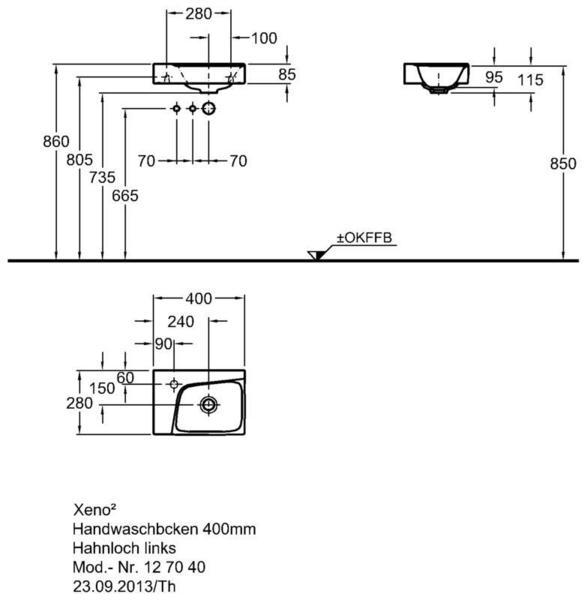 Умывальник Keramag Xeno2 400 х 280 мм с отверстием под смеситель слева без перелива