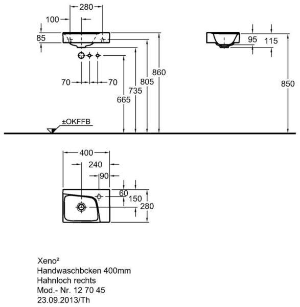 Умывальник Keramag Xeno2 400 х 280 мм с отверстием под смеситель справа без перелива