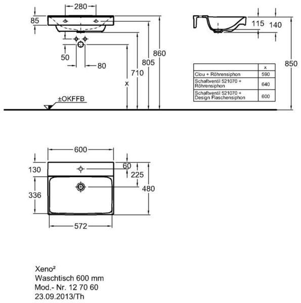 Умывальник Keramag Xeno2 600 х 480 мм с отверстием под смеситель без перелива