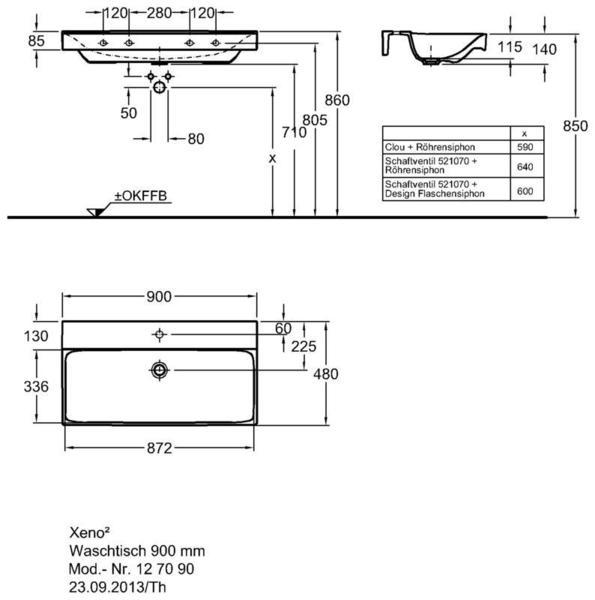 Умывальник Keramag Xeno2 900 x 480 мм с отверстием под смеситель без перелива