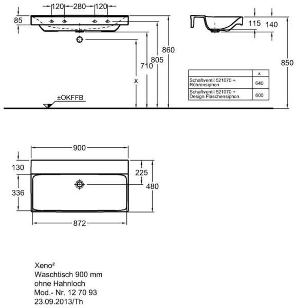 Умывальник Keramag Xeno2 900 x 480 мм без отверстия под смеситель без перелива