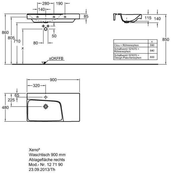 Умывальник Keramag Xeno2 с полочкой справа 900 х 480 мм с отверстием под смеситель без перелива