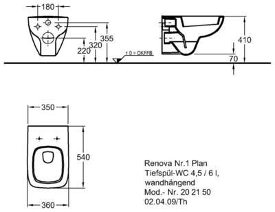 Унитаз Keramag Renova Nr. 1 Plan подвесной 4,5/6 л цены