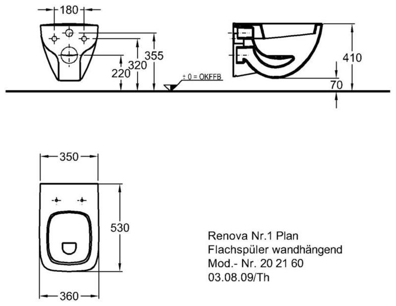 Унитаз Keramag Renova Nr. 1 Plan подвесной 6 л