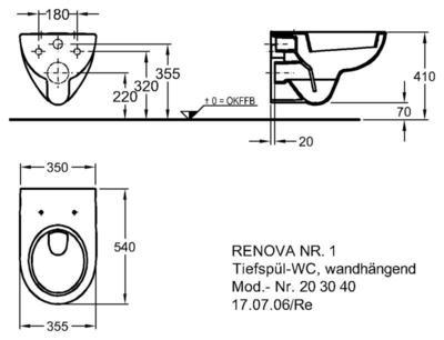 Унитаз Keramag Renova Nr. 1 подвесной 4,5/6 л цена