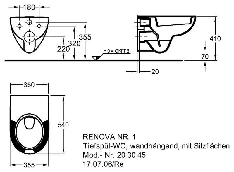 Унитаз Keramag Renova Nr. 1 подвесной, 4,5/6 л с подушкой на сиденье