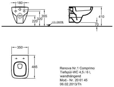 Унитаз Keramag Renova Nr. 1 Comprimo New подвесной 4,5/6 л цена