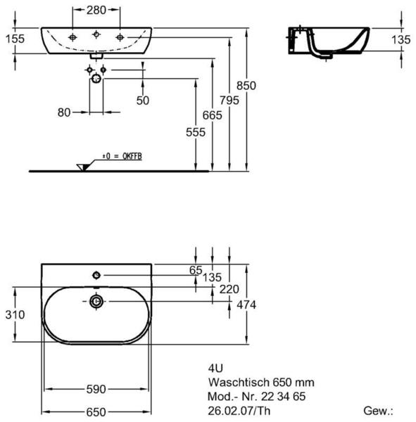 Умывальник Keramag 4U 650 x 475 мм с отверстием под смеситель с переливом