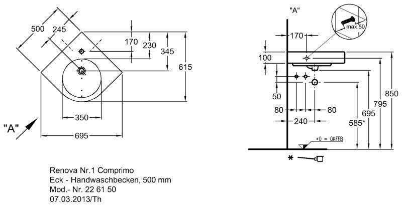 Умывальник Keramag Renova Nr. 1 Comprimo New угловой 500 мм с отверстием под смеситель с переливом