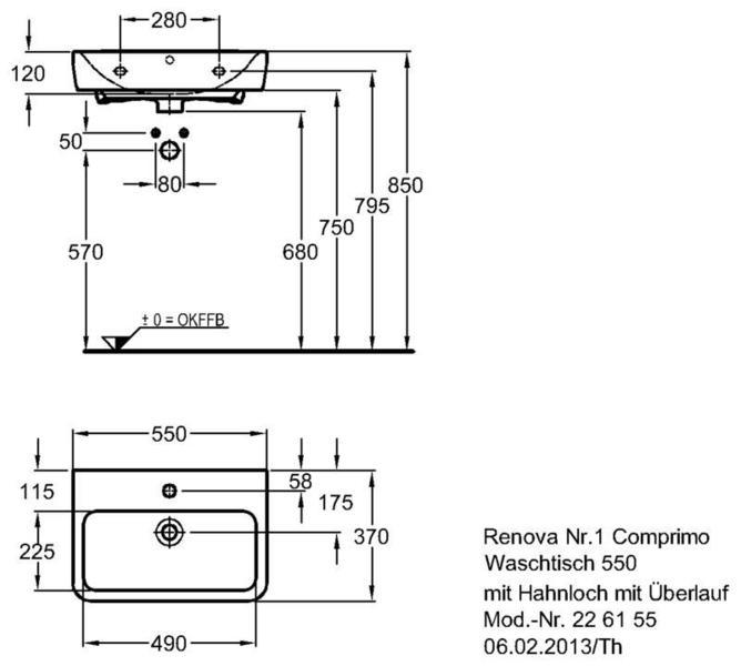 Умывальник Keramag Renova Nr. 1 Comprimo New 550 x 370 мм с отверстием под смеситель с переливом