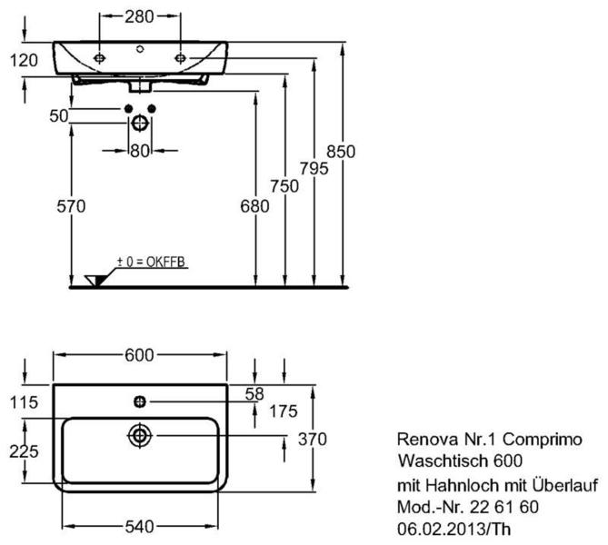 Умывальник Keramag Renova Nr. 1 Comprimo New 600 x 370 мм с отверстием под смеситель с переливом