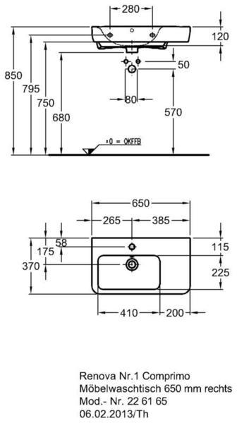 Умывальник Keramag Renova Nr. 1 Comprimo New с полочкой справа 650 х 370 мм с отверстием под смеситель с переливом