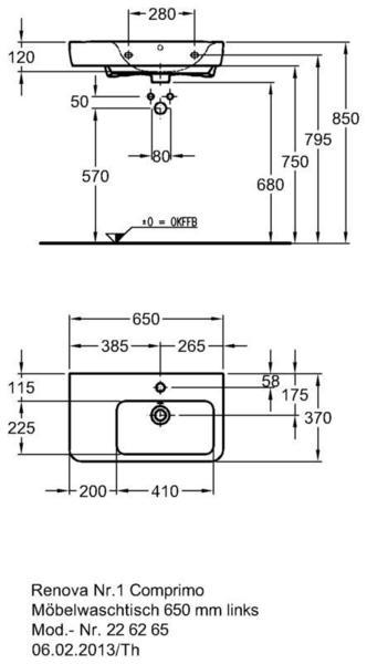 Умывальник Keramag Renova Nr. 1 Comprimo New с полочкой слева 650 х 370 мм с отверстием под смеситель с переливом