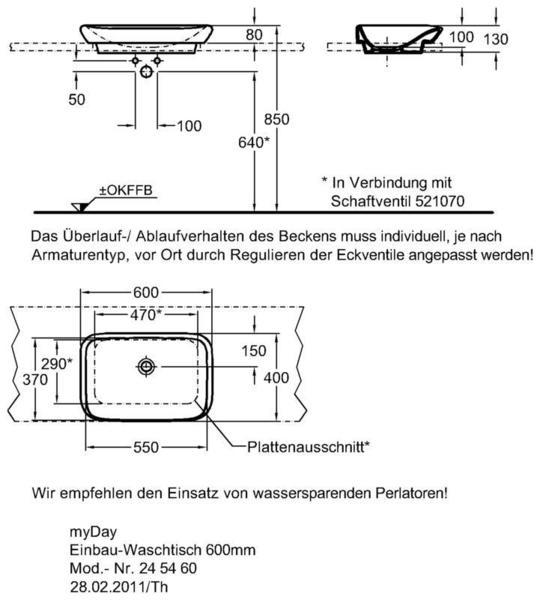 Умывальник Keramag myDay 600 x 400 мм с отверстием для смесителя без перелива