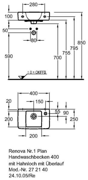 Умывальник Keramag Renova Nr. 1 Plan 400 x 250 мм с отверстием под смеситель справа с переливом