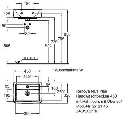 Умывальник Keramag Renova Nr. 1 Plan 450 x 320 мм с отверстием под смеситель с переливом цена