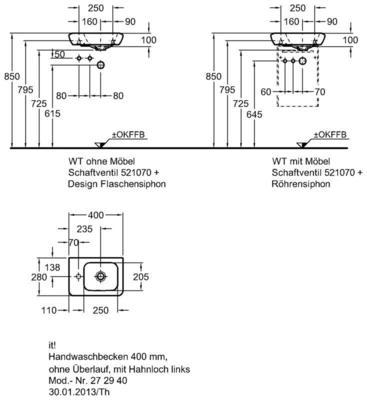 Умывальник Keramag it 400 x 280 мм с отверстием под смеситель слева с переливом цена